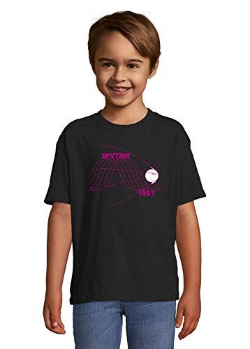 Sputnik 1957 Sin Wave Satelite Graphic Space Race Noir Colorful Kids T-Shirt 12 Year Old