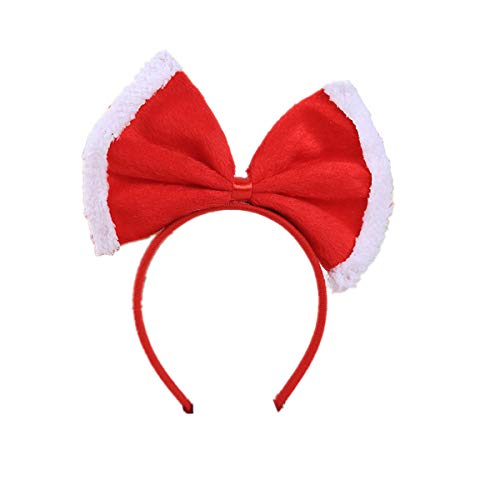 Hair Hoop Xmas Hair Accessory Headwear Colorful Bow Headband Christmas Holiday Party Supplies Gifts (Red C)