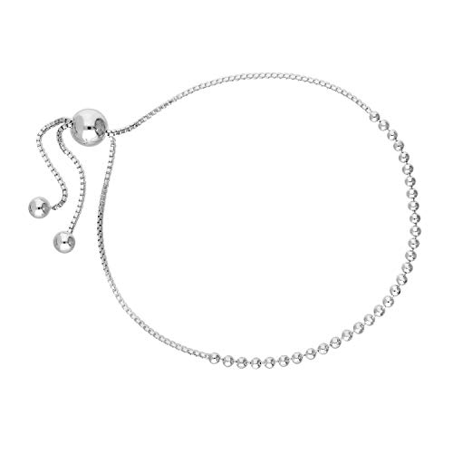 Sterling Silver Bead Chain & Box Chain Adjustable Bracelet