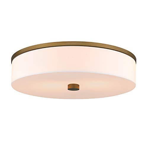 """Contemporary 16"""" Flush Mount Light Fixture, LMS 2-Light Flush Mount Ceiling Light in Antique Brass Gold Finish, Large Ceiling Light Fixtures with Drum Milky White Acrylic Shade, Dimmable, LMS-031"""