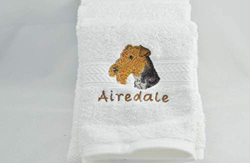 Personalized Dog Hand Towel Wire Fox Terrier Embroidered Custom