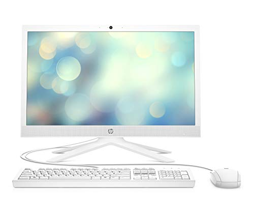 HP All-in-One 21-b0004ns - Ordenador de sobremesa de 20.7' (Intel Celeron J4025, 4 GB RAM, 256 GB SSD, Intel UHD Graphic, sin sistema operativo), blanco nieve
