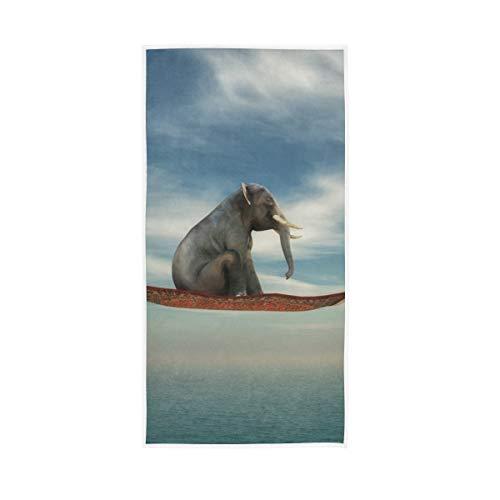 Mr.XZY Toallas de baño 100% algodón de secado rápido, suaves para hombre y mujer, hogar, cocina, spa, gimnasio, 30 x 15 pulgadas, alfombra voladora de elefante, estilo indio, cielo mar 2010192