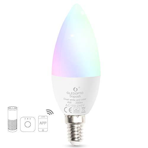 E14 2Pack Telecomando APP RGBW Multicolor Cambia colore GU10 Base No Hub 5W Boaz Smart WiFi Spotlight Lampadina GU10 Illuminazione LED Lampadina di controllo vocale Alexa Google Home e Siri