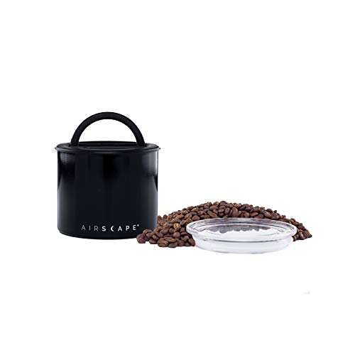 Airscape Coffee and Food Storage Canister - Patented Airtight Lid Preserve Food Freshness with Two Way Valve, Stainless Steel Food Container, Small 4-Inch Can, Obsidian Black
