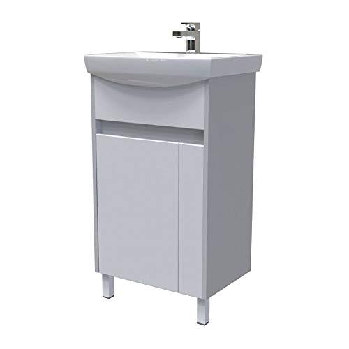 Elean Badmöbel Waschtisch LINE Keramik Waschbecken mit Unterschrank Weiß Hochglanz Lackiert + grau Vormontiert Neu (50 cm)