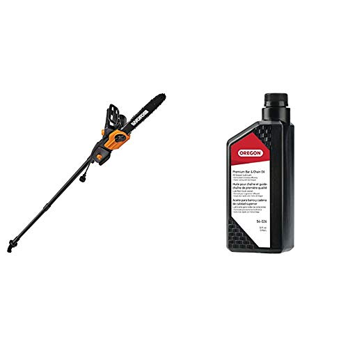 Worx WG309, 8 Amp 10-inch Corded Electric Pole Saw & Chainsaw with Auto-Tension & Oregon 54-026 Chainsaw Bar and Chain Oil, 1 Qt