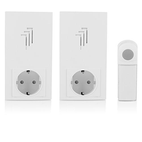 Elro draadloze deurbel met deurbel voor het stopcontact 1 x bel & 2 x plug-in deurbel met doorgangsstopcontact.