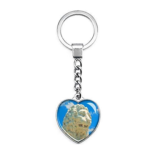USA Amerika St. Augustine Löwe Statue Schlüsselanhänger Kreativ Doppelseitiger Herzförmiger Kristall Schlüsselanhänger Reise Souvenir Metall