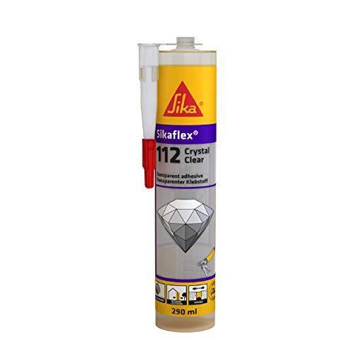 Sikaflex-112 Crystal Clear, Masilla de pegamento multiusos transparente para mantenimiento inmediato interior y exterior, collega, fisura y junta, 290 ml