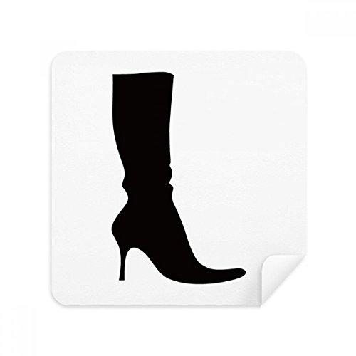 Eenvoudig Patroon Zwart Hoge Laarzen Silhouette Bril Schoonmaken Doek Telefoon Scherm Cleaner Suede Stof 2 stks