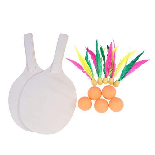HEALLILY Strand-Paddelball-Spiel Badminton Tennis Pingpong Strand Cricket Paddel-Set Outdoor Spiel für Erwachsene Kinder