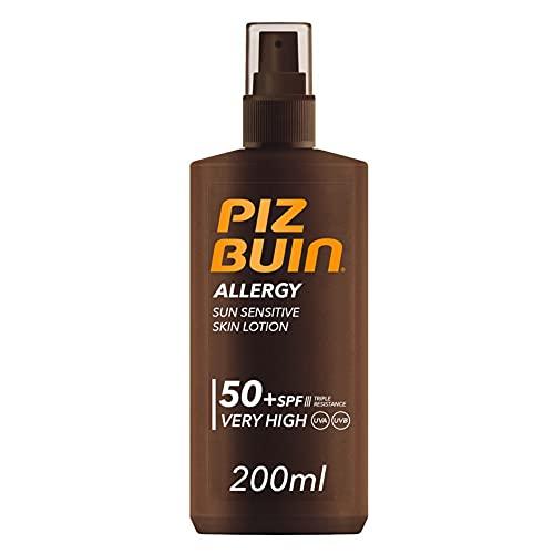 PIZ BUIN, Spray Pelle Sensibile al Sole, Allergy, 50+ SPF, Protezione Molto Alta, Assorbimento Rapido, Resistente ad Acqua Sudore e Cloro, 200ml