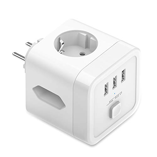 JSVER Enchufe Pared USB,Cubo Enchufe 3 Tomas con 3 Puertos de USB Ladron Regleta (1 Schuko Europeo de 2 Pines+2 Enchufes EU) Proteccion Sobretension Enchufe Alargador para iPad iPhone Tablets Blanco