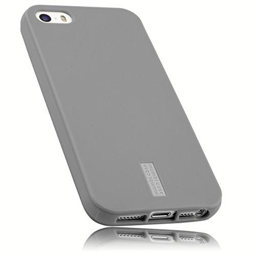 mumbi Hülle kompatibel mit iPhone SE (2016) / 5 / 5S Handy Case Handyhülle, grau mit grauem Streifen
