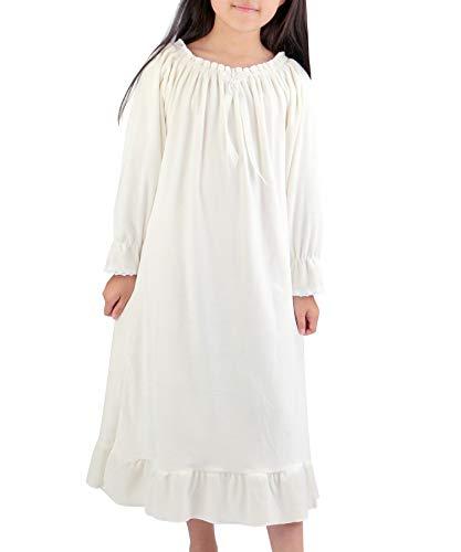 BOOPH Girls Nightgown Winter Velvet Sleepwear Nightwear 4-5T Cream White