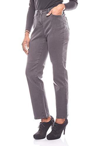 CORLEY gerade elastische Hose Damen Jeans im Used-Look Kurzgröße Denim Grau, Größenauswahl:36 (18 Kurzgröße)