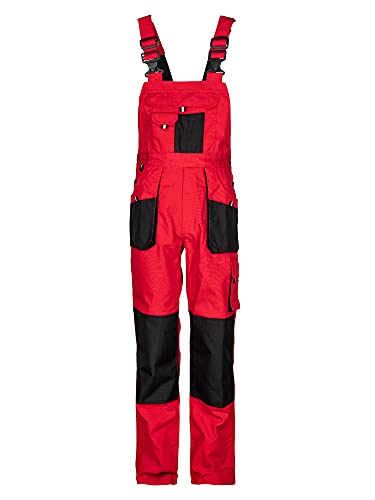 Stenso Emerton - Pantalones con Peto de Trabajo para Hombre - Resistentes - Rojo/Negro - 46