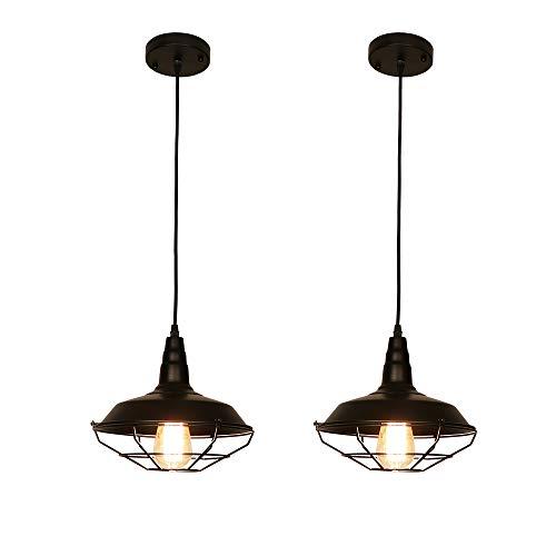 LynPon Set Da 2 Nero Lampade a Sospensione da Soffitto Vintage Lampadari Industriali Per Il Ristorante Bar Caffetteria Soggiorno Sala da Pranzo Taverna