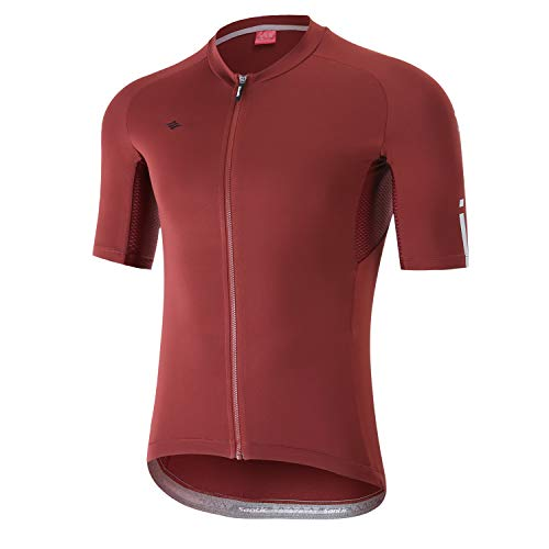 Santic Cycling Jerseys Men's Short Sleeve Bike Shirts Full Zip Bicycle Jacket with Pockets US S Wine Red