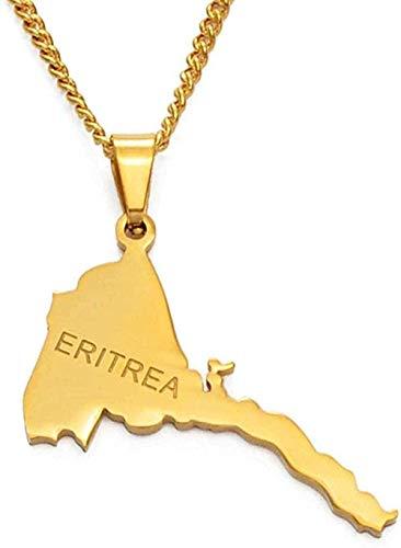 banbeitaotao Collar Collar Mapa de Eritrea Collares Pendientes Cadena Mujeres Hombres/Mapa de Eritrea Joyería de Color Dorado Collar Africano Collar de Etiopía