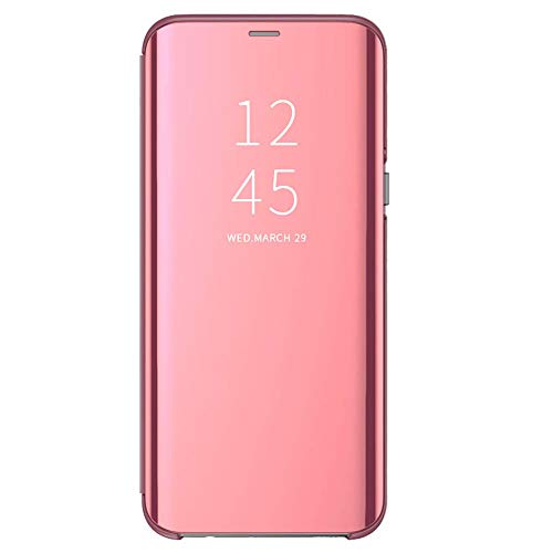 Espejo Funda Compatible con P20/P20 Pro/P20 Lite Huawei Carcasa Mirror Flip Caso Translucent Window View Protector Shock Caja del Teléfono (Rosa, P20)