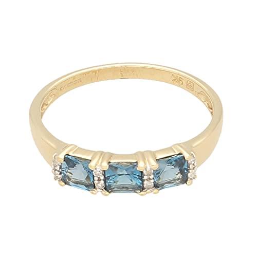 Anillo de oro amarillo de 9 quilates con topacio azul de tres piedras y diamantes (tamaño U) de 4 mm de ancho | Anillo de lujo para mujer