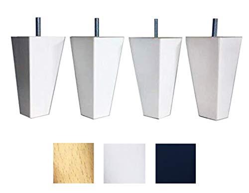 4 patas de madera maciza de haya blancas,para muebles pies para renovar o elevar muebles sofás sillones butacas armarios somieres. Natural y negro (blanco)