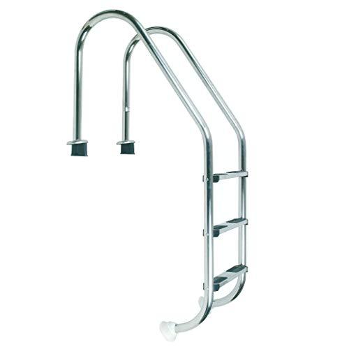 well2wellness® Hochwertige Edelstahl Einstiegsleiter V2A, 43mm Holm weit gebogen, 3 Stufen