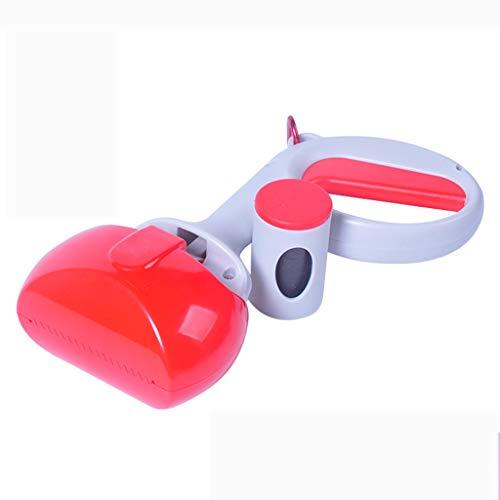 Chien Pooper Scooper Portable Mâchoires-Sacs Pick-up Mâchoire Outil de Nettoyage Facile Poignée Grabber pour Chien et Chat - Rouge