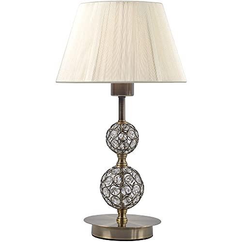 Lámpara de sobremesa, con cristales y pantalla de hilo. Lamparas con pantallas doradas y plateada barata, con tulipas originales