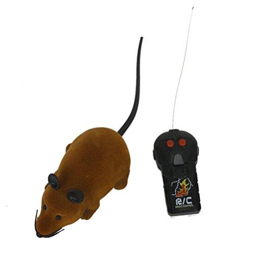 Foxnovo Mouse peluche di Foxnovo spaventoso Elettronico Mini dovuta canali Radio Controllo Simulazione RC scherzo giocattolo con telecomando (marrone)