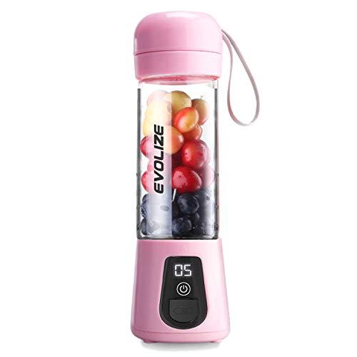 Evolize Tragbar Smoothie Maker Mixer USB-Wiederaufladbar Juicer Mini Standmixer mit Klingen aus Edelstahl, 450ML Glas Mini Blender für Smoothies BPA frei (Rosa)