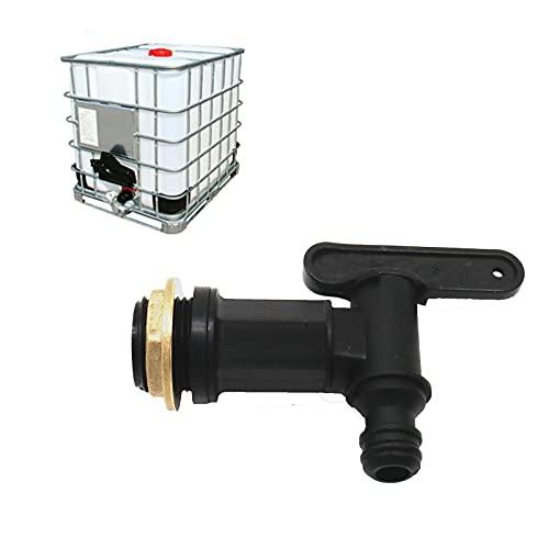 Grifo cubeta de agua de plástico para depósito de agua de lluvia de 3/4', grifo adaptador de grifo para adaptador de cubeta de IBC 1 unidad