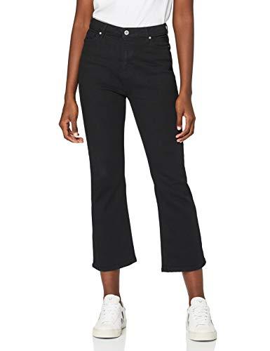 Marca Amazon - find. Vaqueros Campana Tobilleros Mujer, Negro (Clean Black), 32W / 32L, Label: 32W /...