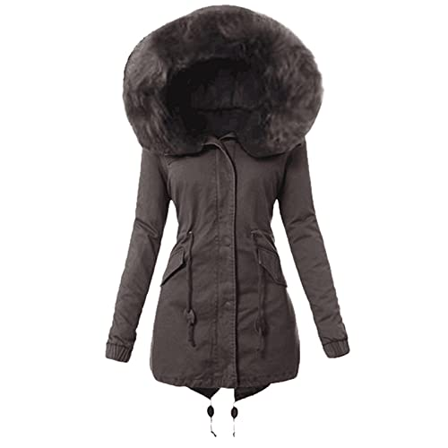 Neferlife Plus Velvet Cotton Jacket Zipper Overcoat,Women's Lining Coat Winter Warmth Thickening Long Button Jacket Solid Color Hooded Coat Outwear(Gray,XL)