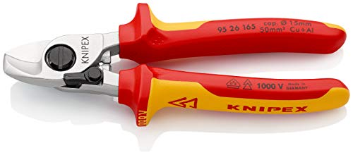 KNIPEX 95 26 165 Cortacables Con muelle de apertura aislados con fundas en dos componentes, según norma VDE 165 mm