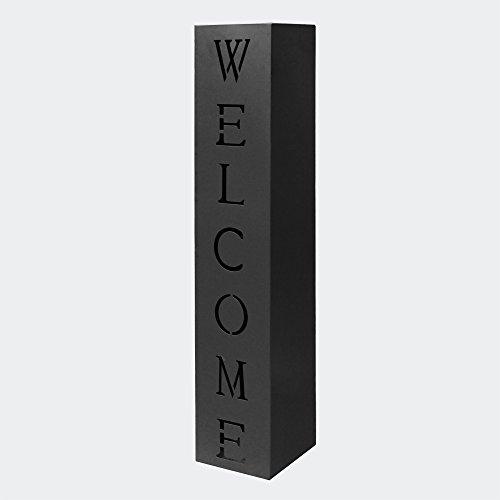 Pflanzsäule Welcome in Schwarz, Fackelsäule aus Metall, Dekosäule für Hauseingang und Vorgarten