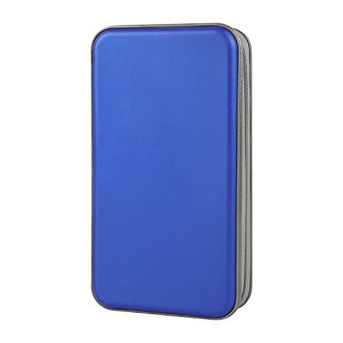 alavisxf xx CD Case, 96 Capacity Hard Plastic CD Holder Protective DVD Disc Storage Case Holder Portable Zipper CD DVD Organizer Storage Wallet for Car Home Travel (96 Capacity, Blue)