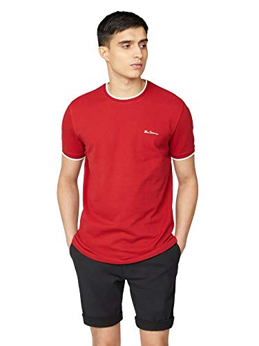 Ben Sherman Red Pique T-Shirt with Tipping XS