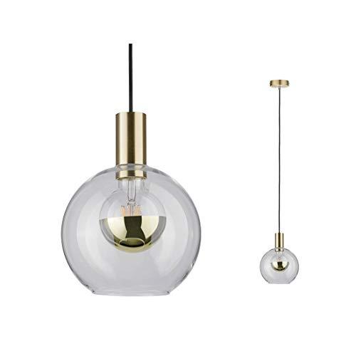 Paulmann 79725 Neordic Esben Pendelleuchte max. 1x20W Hängelampe für E27 Lampen Deckenlampe Klar/Messing gebürstet 230V Glas/Metall ohne Leuchtmittel