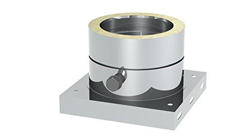 """Schornstein - Grundplatte DW doppelwandig mit 1/2"""" Außennippel, Verschlusskappe und Kondensatablauf seitlich; Innen/Außen je 0,5 mm Wandstärke; Ø 600mm Innendurchmesser, Edelstahl"""