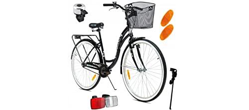 BDW Koselnos - Bicicletta da donna e ragazza, 28 pollici, da città, da donna, da città, da città, da trekking, con cestino, colore nero