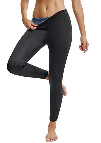 FITTOO Pantalon Sudation Femme Legging Minceur Néoprène Transpiration Sauna Amincissant Sport Gym Fitness Bleu et Noir M