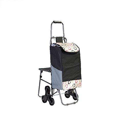 Lozse Shopping Trolleys 6 banden voor de oudere draagbare eco-vriendelijke karren, thuis Kruidenier winkelwagens, 98 * 45 * 38cm