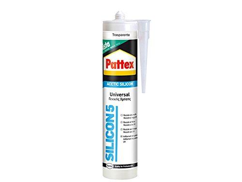 Pattex Silicona Ácida universal transparente ideal aluminio y vidrio, 280ml