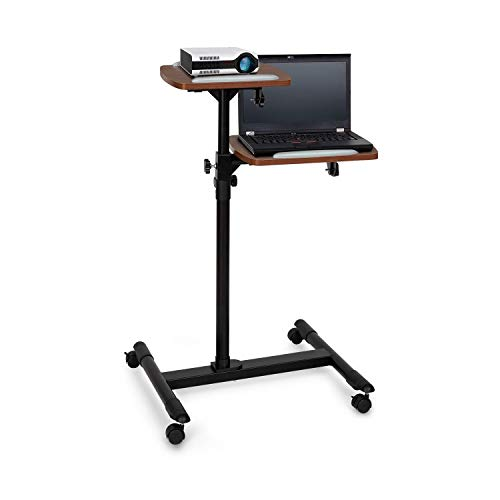 auna Pro TS-6 - Projektor-Wagen, Laptop-Tisch, Beamer, universell einsetzbar, höhenverstellbar: 83 bis 107 cm, Zwei Ebenen mit je 10 kg max. Belastbarkeit, 4 Rollen, Stahl, schwarz