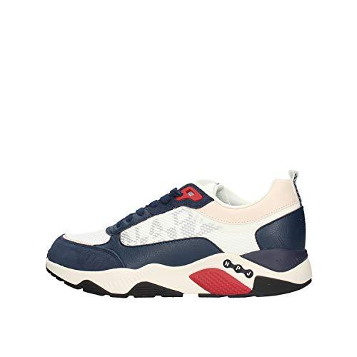 NAPAPIJRI Scarpe Sneakers Uomo Modello Lake in Pelle Bianca e Blu con Inserti Rossi. Fondo in Gomma Antiscivolo. N.43