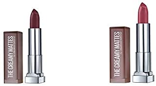 Maybelline New York Color Sensational Creamy Matte Lipstick - Pack of 2(Burgundy Blush 696, Touch of Spice 660)