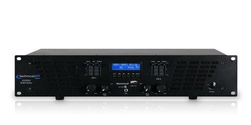 Technical Pro AX AMPLIFIER SERIES AX5000 5000 watts of peak power 2U Professional 2 Channel Power Amplifier, Black